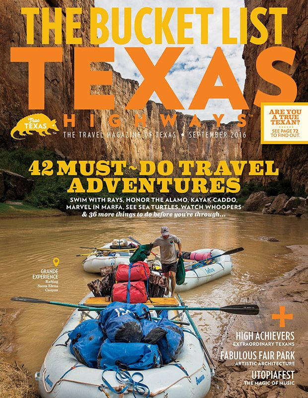 The Texas Bucket List, 42 Must-Do Travel Adventures. Swim with rays, honor the Alamo, kayak Caddo, marvel in Marfa, see sea turtles, watch whoopers, and more.