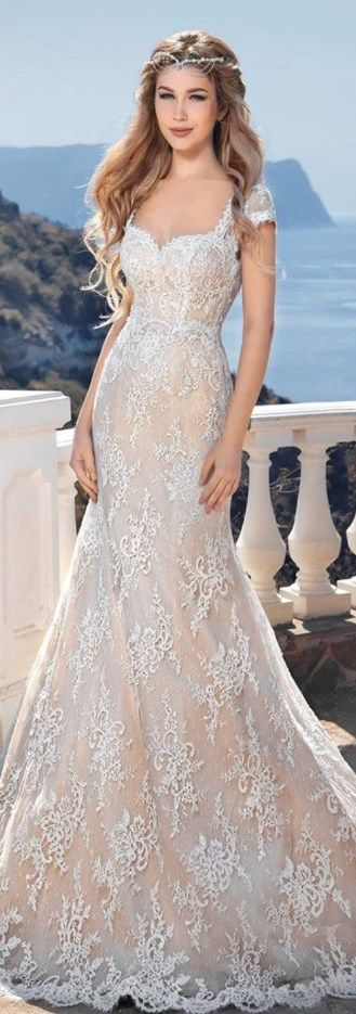 Sumptuous Backless Beach Wedding Gown Lace Mermaid Bride Dress. Ideal for Pear-Shaped and Hourglass Body Types. See at http://www.cutedresses.co/product/backless-beach-wedding-gown-lace-mermaid-bride-dress/