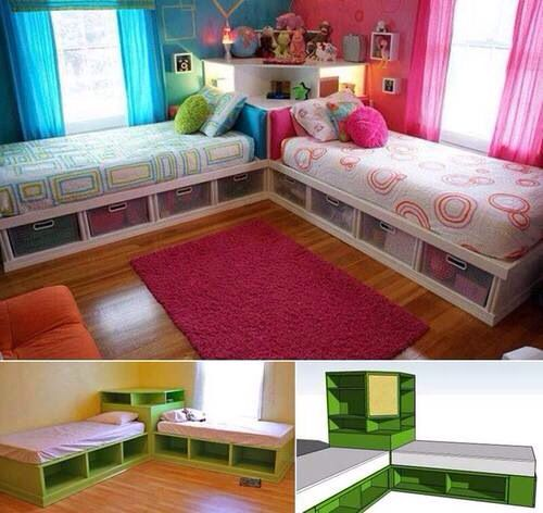 this is a really neat idea for room space and giving each their own side #thegirlsbedroom