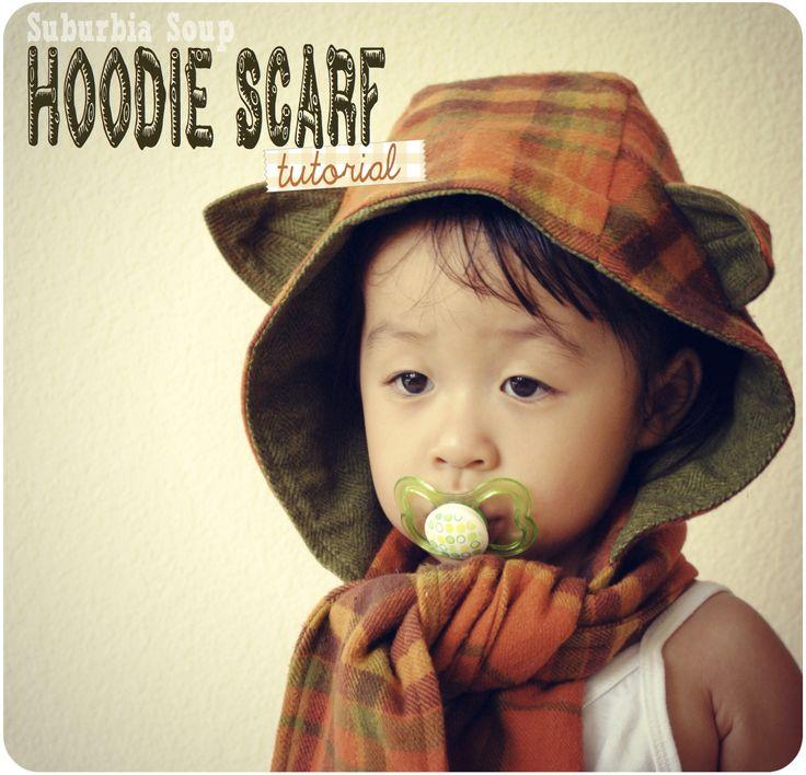 Hoodie Scarf Tutorial - try it in a knit fabric, soft fleece, sweatshirt fabric.