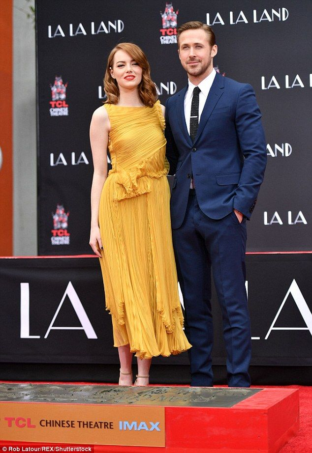 All smiles: The actress, 28, and actor, 36, who play love interests in the new film La La Land, were in good spirits during the momentous ceremony