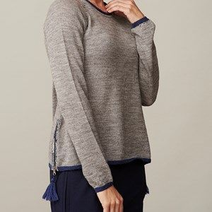 BIOWOOL sweater with zipper, light grey melange. This shirt is made by the softest sustainable eco Italien wool. Original Liberty fabric is used for details in the neck and on the sides by the cool zippers.  Coloured with nature colours.