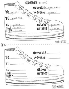 E to IE stem changing Spanish shoe verb chart boot verb wo