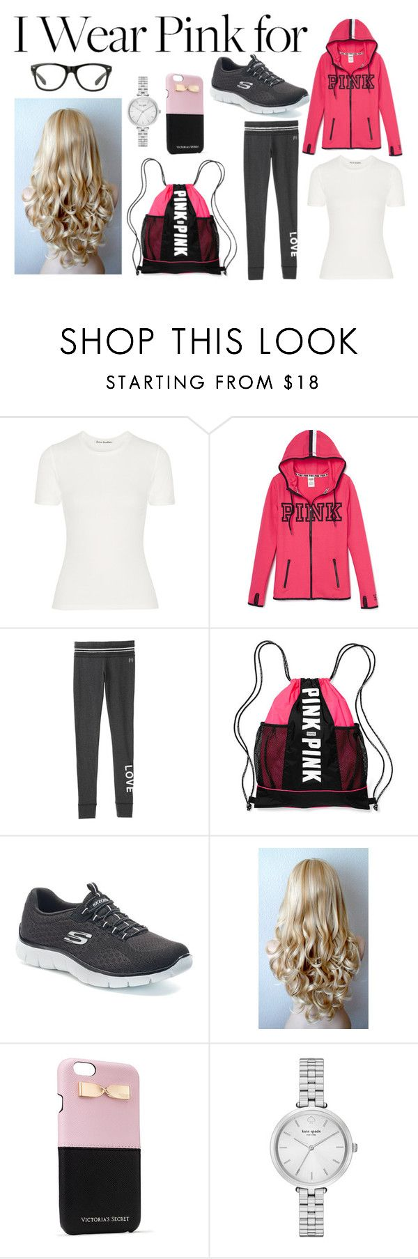 """""""Sport Style #33"""" by paola200 ❤ liked on Polyvore featuring Acne Studios, Victoria's Secret, Skechers, Capelli New York, Kate Spade and IWearPinkFor"""
