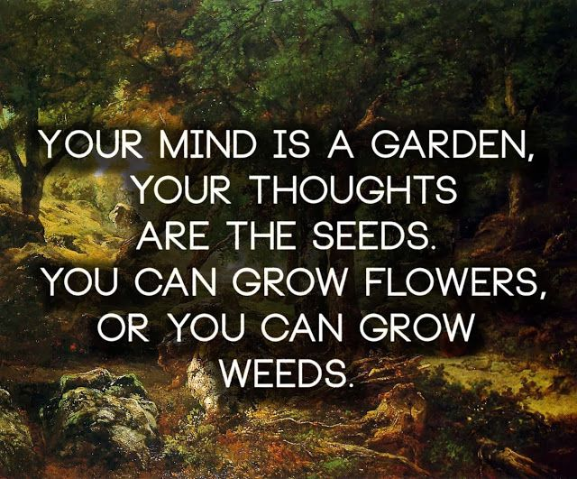 Your mind is a garden, your thoughts are the seeds, you can grow flowers, or you can grow weeds.   Anonymous ART of Revolution