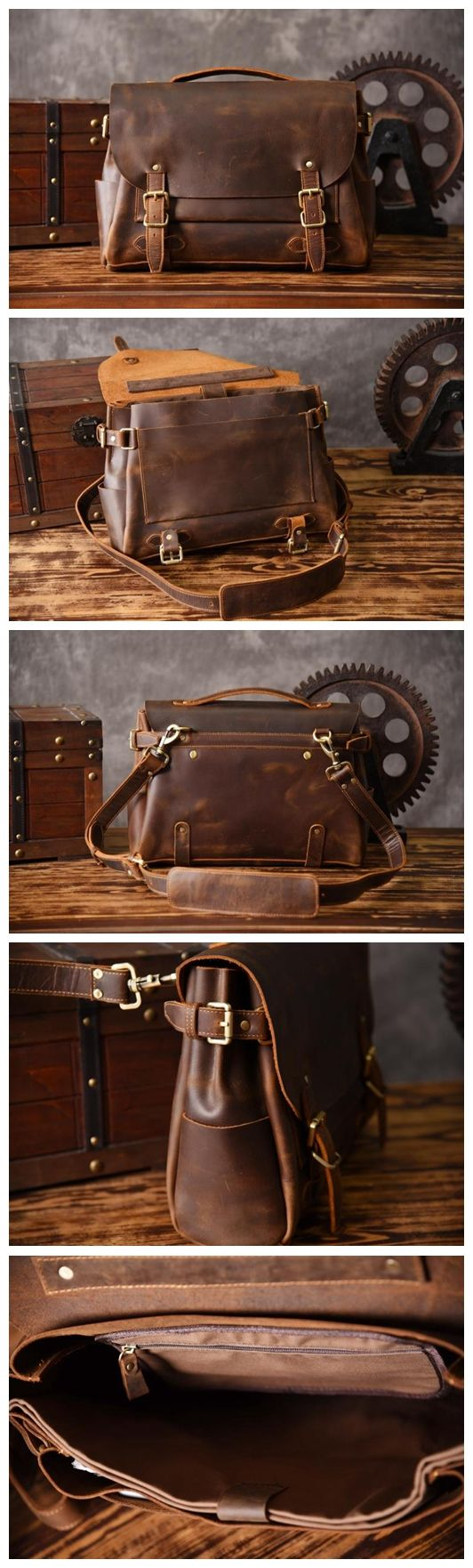 Handmade Top Grain Vintage Brown Leather Messenger Bag Travel Bag Leather Briefcase MT601