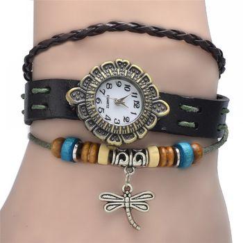 2014 mujeres originales de alta calidad relojes genuinos del cuero de la vendimia, relojes de la pulsera de libélula colgante $1.5 relojes de pulsera - yyw