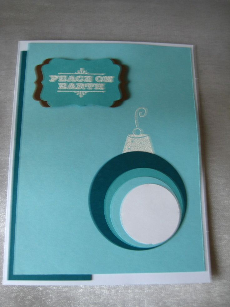 variations on a theme, teal and turquoise ornament, Stampin Up sentiment