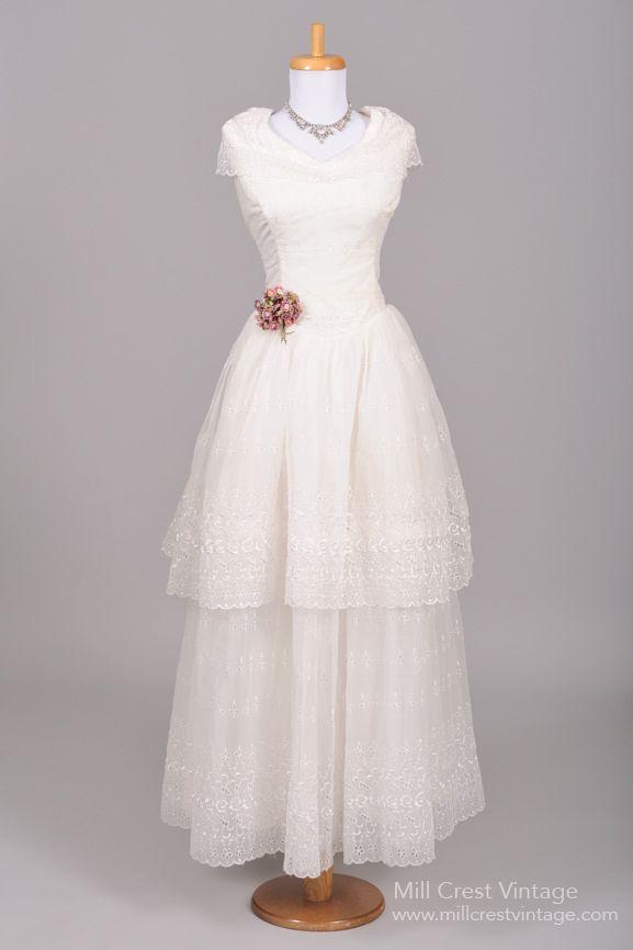 1950's Eyelet Chiffon Vintage Wedding Gown : Mill Crest Vintage