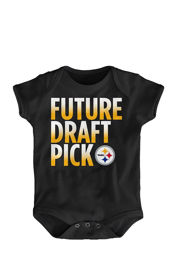 8c8d405f3 Pittsburgh Steelers Baby Black Future Draft Pick Short Sleeve One Piece -  Image 1