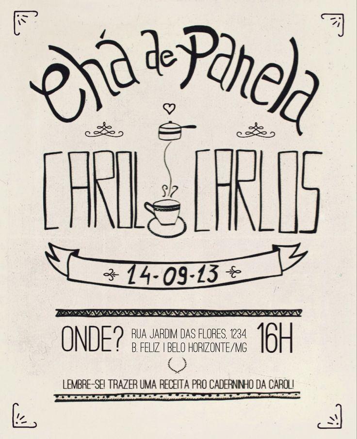 Convite virtual Chá de Panela - Ilustração e tipografia à mão. | Bridalshower Invitation, Save the Date