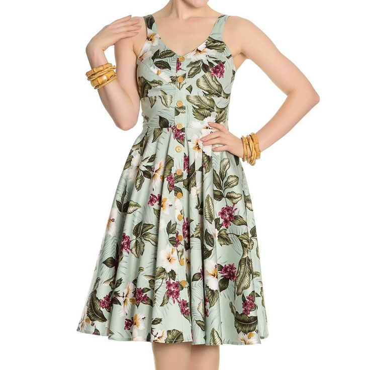 Hell Bunny Tahiti fifties jurk met hibiscus bloemen print groen - Rock