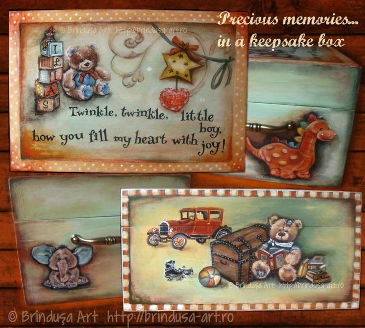Painted and personalized keepsake box for precious childhood memories - for a little boy. Teddy bears, toys, happy childhood. Acrylic painting on wood.  Cutie pentru păstrat amintiri preţioase din copilărie – pictată şi personalizată pt. un băieţel. Ursuleţi, jucării, copilărie fericită. Pictură pe lemn (acrilice).