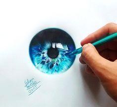 Augen mit Kugelschreiber von Gelson Fonteles