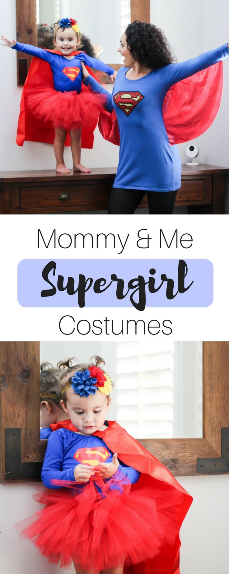 SuperGirl Costumes | Mommy and Me Costumes | Family Costumes | Super Hero Costumes | Leotards | Super Girl | Halloween | Busy Little Izzy Blog | #momblog #supergirl #halloween #mommyandme #fashionblogger #halloweencostume #superhero