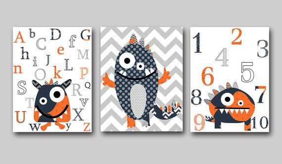Playroom Print Monster Nursery Alphabet Nursery by artbynataera