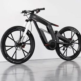 The entire bike, made of ultralight carbon fiber, weighs just 46 pounds, while Audi said that the Wörthersee's frame weighs just 1,600 grams (3.53 lb), not including a 5 kg (11.02 lb), 530 Wh lithium-ion battery that supplies the power.