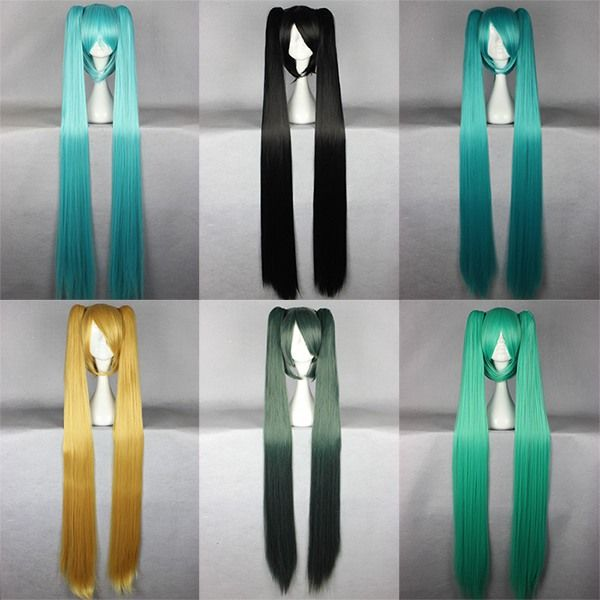 MCOSER Panjang Lurus Sintetis Wig 130 cm Vocaloid Hatsune Miku Tampilkan Ekor Kuda Biru Hijau Cosplay Wig Multi Warna