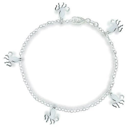 Bling Jewelry Sterling Silver Bracelet Octopus Charm Anklet 10in