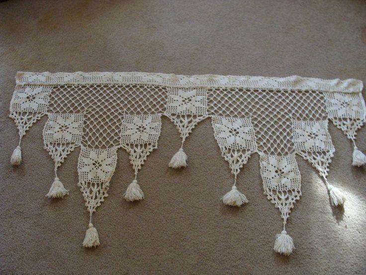 Antique Filet Crochet Lace WINDOW VALANCE Curtain w/Fringe Heavy Cotton Vintage