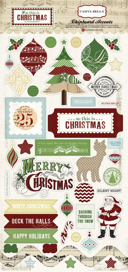 Carta Bella Paper - So this is Christmas - Chipboard Stickers at Scrapbook.com