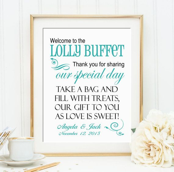Personalised Welcome to the Lolly Buffet Wedding 8 by OrchardBerry