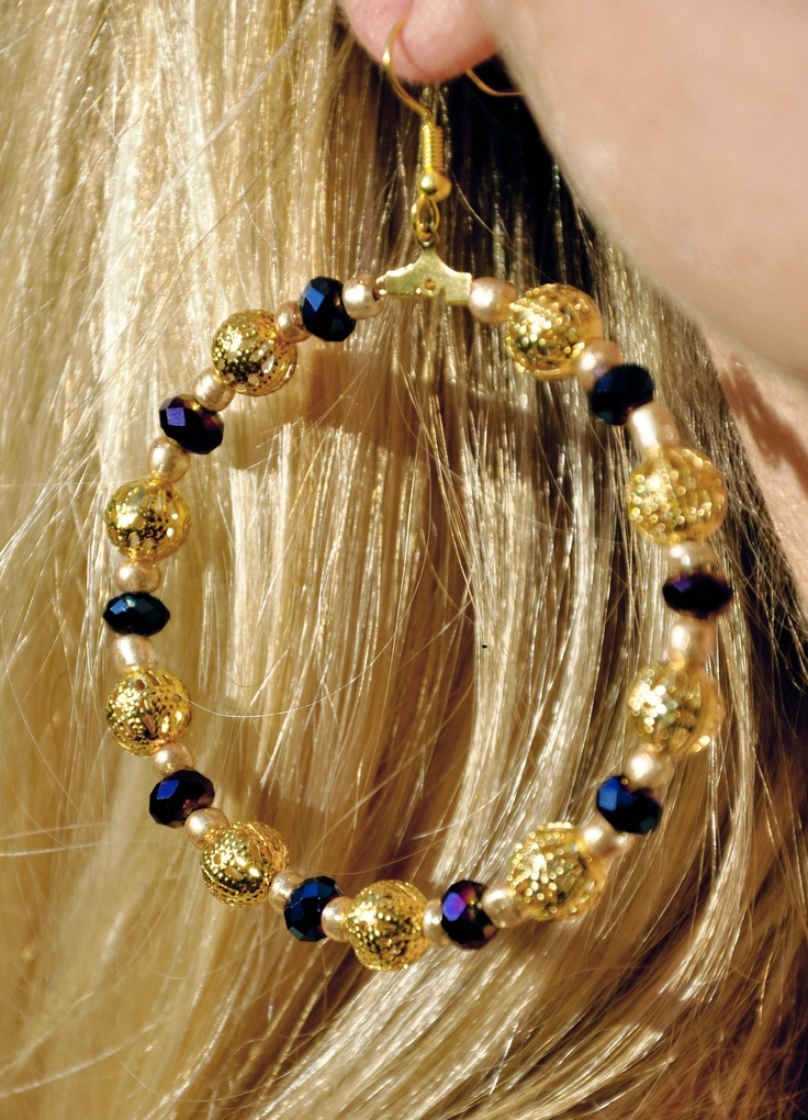 Gold ethnic big blue purple earrings
