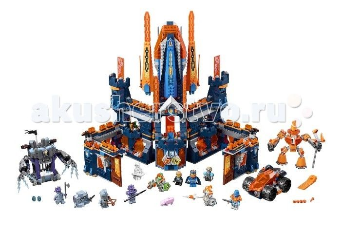 Конструктор Lego Нексо Королевский замок Найтон 1426 элементов  Конструктор Lego Нексо Королевский замок Найтон 1426 элементов 70357 - самый большой набор серии NEXO KNIGHTS первого полугодия 2017 года перенесет нас в замок рыцарей, где пятеро героев во главе с Королем будут вынуждены выдержать осаду каменных монстров и защищать свои энергетические артефакты от темных магов. На страже замка также стоит оранжевый робот-маг Мерлок с волшебным жезлом. В распоряжении рыцарей есть машина…