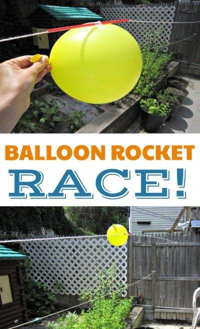 Balloon rocket race experiment for kids. Indoor or outdoor science activity!