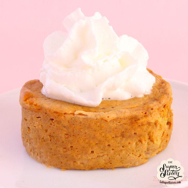 Single Serve Pumpkin Pie Makes 1 serving  1/2 cup pumpkin puree 1 egg white 1/2 tsp pumpkin pie spice 1/4 tsp vanilla extract 1/4 tsp sea sa...