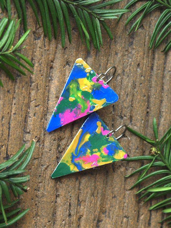 1980s earrings splatter pattern 1980s by HandmadeEarringsUk