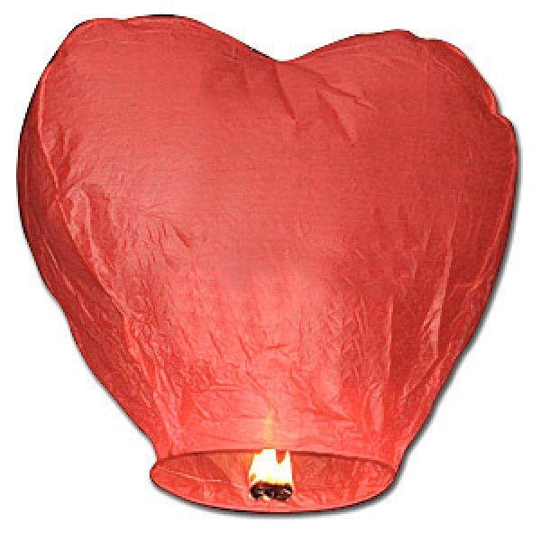 Lanterne volante coeur rouge, lanternes celestes pas cher