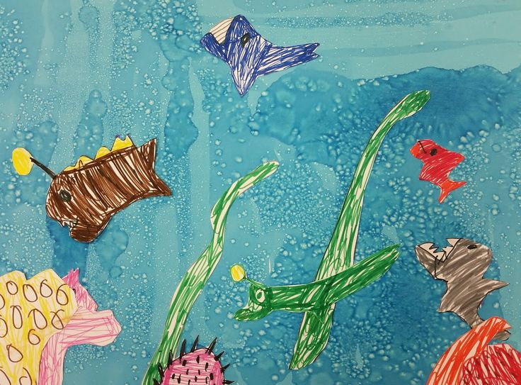 """Mixed media/salt painting and marker undersea scene from """"Sensory-friendly Saturday"""" event."""