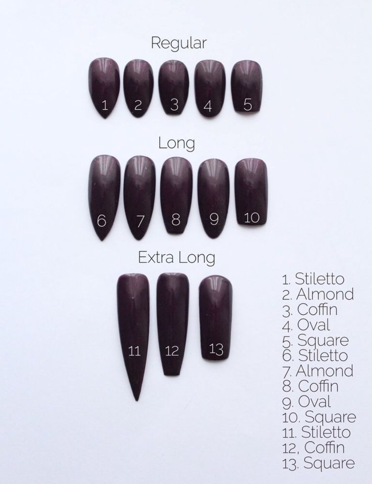 Nail size chart Glue on nails, Fake nails, Acrylic nail