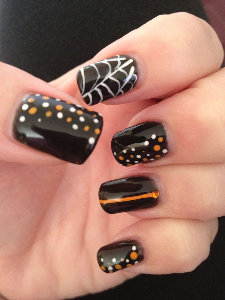 LOVE my cute Halloween nails! ManiQ black gel polish and ...