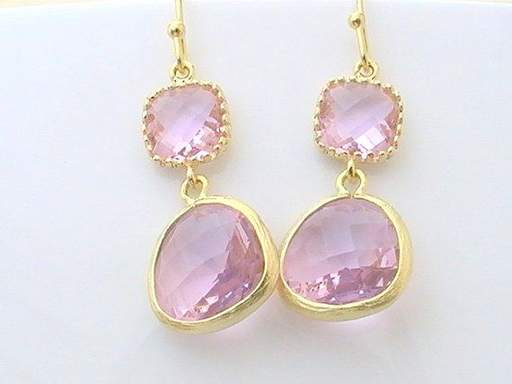Pink Dangle Earrings in Gold- Drop Earrings- Bridesmaid Gift- Wedding Jewelry- Bridal Jewelry- Pink Wedding Earrings- Pink Jewelry