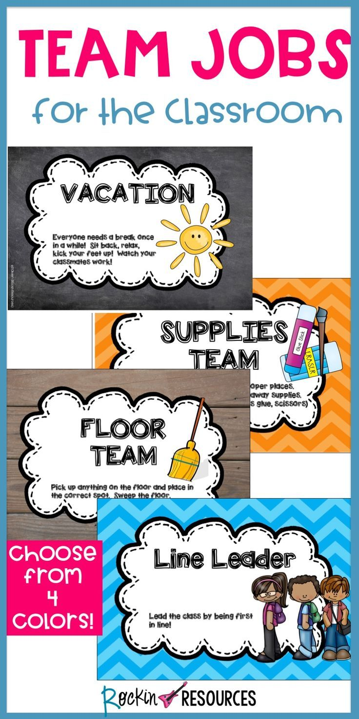 ★★★Jobs for the Classroom★★★ Let the students take responsibility for cleaning up the classroom! Be a team! Assign two people per job. 4 Styles available! The title has full color. The others I paste on construction paper and laminate. Use clothespins with the students' names on them to rotate to the different jobs each week. (a picture is included of my display)