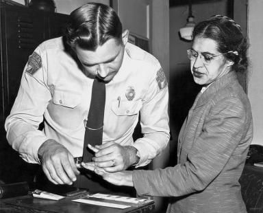 Did Rosa Parks Have a Happy Marriage with Her Husband Raymond?: Mrs. Rosa Parks is  shown being fingerprinted after her refusal to move to the back of a bus to accommodate a white passenger. Her actions helped spark the bus boycott in Montgomery, Alabama, in 1956.