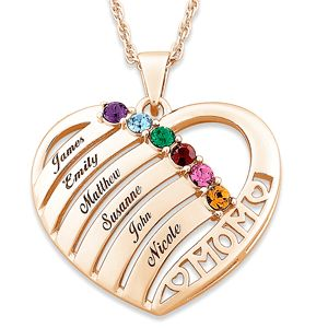 Personalised Heart in Heart Necklace - Personalised with 2 Names and 2 Birthstones - Mother Necklace EnZXHzZFTL