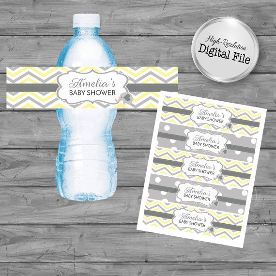 Personalized Water Labels Elephant Theme Baby Shower Baby
