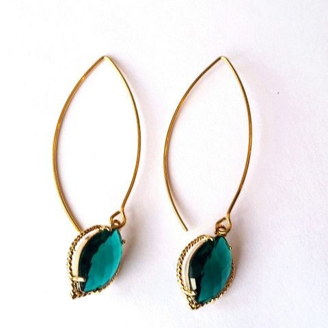 Emerald Green Marquise Dangle Earrings | MIA ELLIOTT 17.00