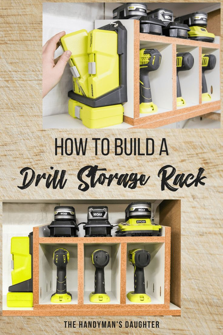 Keep all your drills, batteries and bits in one compact space! This DIY cordless drill storage rack has room for three drills or impact drivers, three chargers or batteries, and multiple bit sets on the side! Get your workshop or garage organized with this handy storage idea. Get the tutorial at The Handyman's Daughter!
