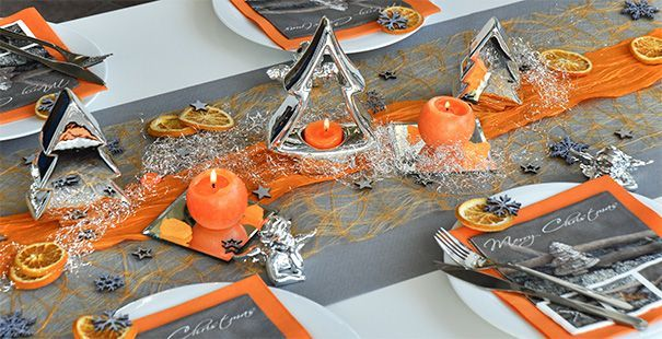 Weihnachten Orange / Grau