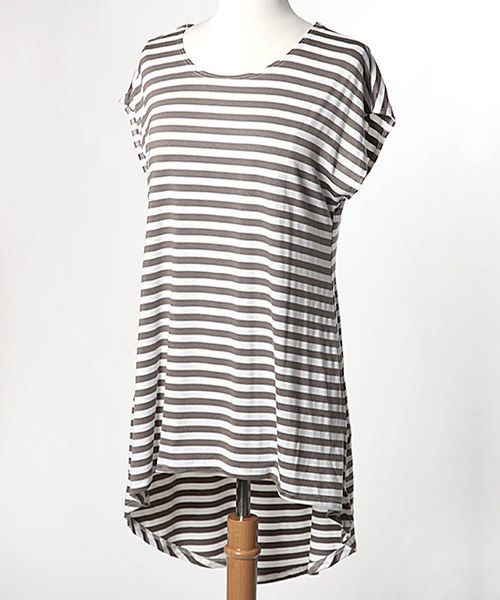 Take+a+look+at+the+Taupe+&+White+Stripe+Brigitte+Tunic+on+#zulily+today!