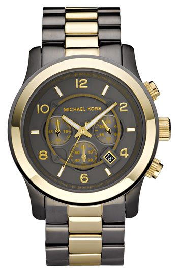 Michael Kors 2-tone chronograph watch.   I'm in love with the gunmetal and gold mix...