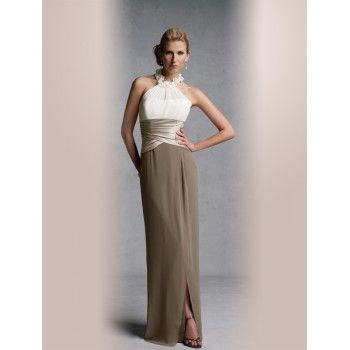 Chic Brown and White Halter Neck Mother of the Bride Dresses h4nm614