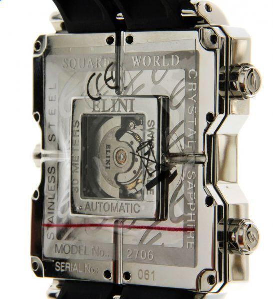 Elini Barokas vierkante wereld - Exclusief nl flink - Heren polshorloge.  Prachtige horloge met 5 bewegingen waarmee u kunt bijhouden van de hele wereld.Een unieke en mooie collector's item.Staat: Nieuwstaat! ongedragen!Wijzerplaat: witCase: roestvrij staal diameter 445 x 465 mm (zonder de kroon) dikte 13.8mm saffier glas.Movement: Automatic Swiss made centrale klok - 4 andere klokken QuartzWaterdicht 30mFuncties: Uren minuten seconden datum & meerdere tijdzones (5)Band: rubberen band en…