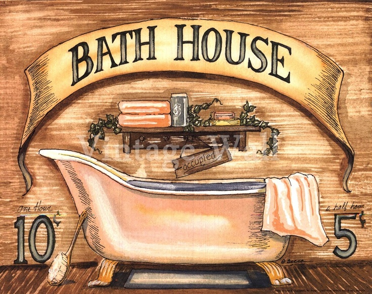 Bath House By Becca Barton At Vintage Wall