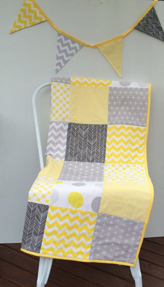 Patchwork Cot quilt in Yellow and Grey with Cushion Cover and Bunting Available