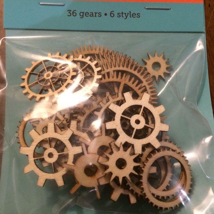 36 Wooden Laser Cut Wood Gears craft supplies scrapbooking Steampunk creations